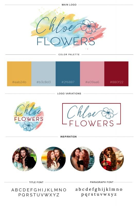 Brand board with logo, colors, fonts